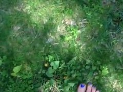 Barefoot grass cutting