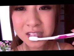 Compilation Asian cum  brushing 5