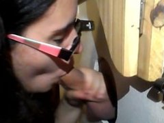 Lilly's First Gloryhole Blowjob and Cum Swallow!