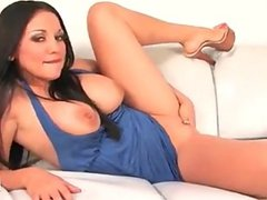 Naughty Audrey Bitoni masturbate on the sofa