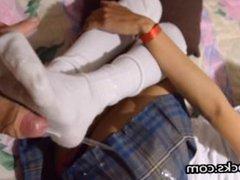 Sockjob from teenage school girl