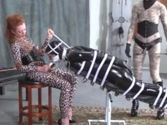 Slave girl bound for blowjob training