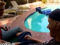 Blonde guys Jeremiah and Casey enjoying a poolside banging