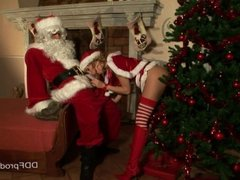 Father Xmas gets horny blowjob by Blue Angel