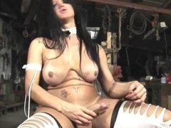 Mature tranny measuring her dick