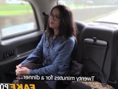 Attractive Julia with glasses gets banged hard in a cab