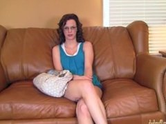 Sexy amateur in glasses fucked on casting couch at BrandNewAmateurs