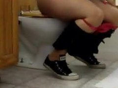 Girl farts and poops on toilet 2