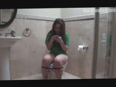 Girl farts and poops on toilet 4