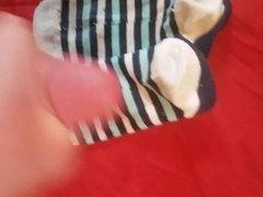 Cum on Her Socks - Blue Striped Ankle Socks
