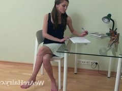 Victoria strips and masturbates on her glass table