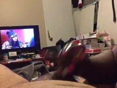 Hot ebony handjobs white hubby in front of tv - huge nut