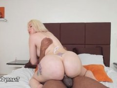Black cock fucked big booty shemale