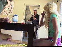 Hot blonde teen blowjobs, foot fuck stranger under table