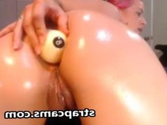 Big Oiled Butt Anal Masturbation