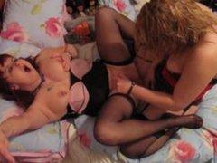 Blonde licks MILF Cunt & Stocking Feet