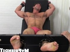 Hunk Aspen gets laughing as he gets tickled on strap chair