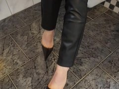 Ultra Pointy Stiletto Pumps & Leather Pants