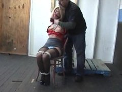 Nipples tormented while tied to chair