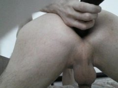 Big black dildo in my white twink ass