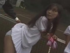 Bitchy Asian tennis girls punished tied-up groped fingered BJ fucked