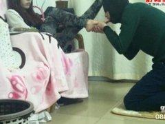 Chinese Beauty Enjoys Foot Worship