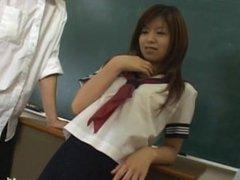 Naughty Japanese teen Riko Araki is masturbated with large vibrator