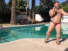 Big Bear dancing poolside to JT's hot new summer jam!