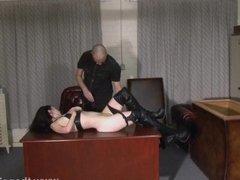 Kinky leather slave Fae Corbins amateur bdsm and hot wax