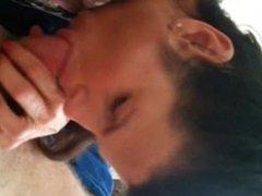 Brunette MILF sucking her husband's dick