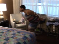 MILF hops around room with toes tied
