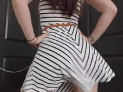 White girl twerking in dress