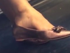 Candid Feet Shoeplay Dangling on Train with Face