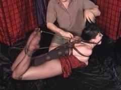 Mary Jane in strict rope bondage