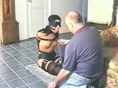 Gagged slave girl fed and then gagged again