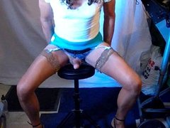 Crossdresser wanking in stockings and panties