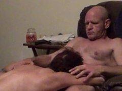 Wife sucks Husband's Big Dick in Chair