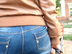 Big ass redhead milf in jeans