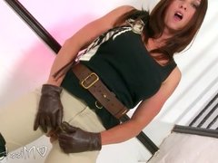 Gloved masturbation squirt in jodhpurs