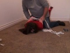 Booted babe brutally hogtied