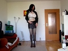 sandralein33 with Monster Tits dancing in hot short Skirt