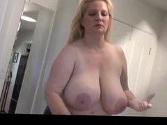 Caucasian BBW hottie with huge boobs gives me handjob