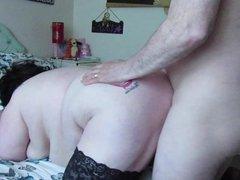 Fucking BBW doggy, swinging tits