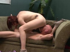 Pounded tranny gets cum
