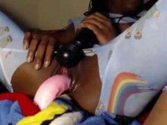 Ebony Teen Masturbating With Toys In Teared Pajamas