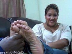 Latina Ebony Big Feet Tickled