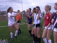 Football teen Girls having fun