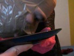 handjob with household glove