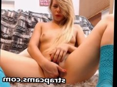 Nasty Blonde Teen In Stockings Toying