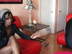 dirty black girl giving footjob and cum on feet